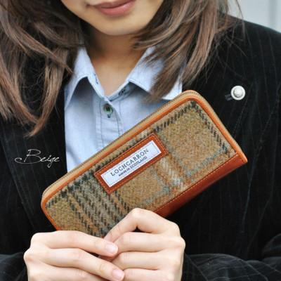 ロキャロン社タータンチェックツイードラウンドファスナー長財布