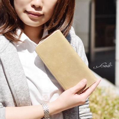 アンティークメタリックレザーL字型長財布