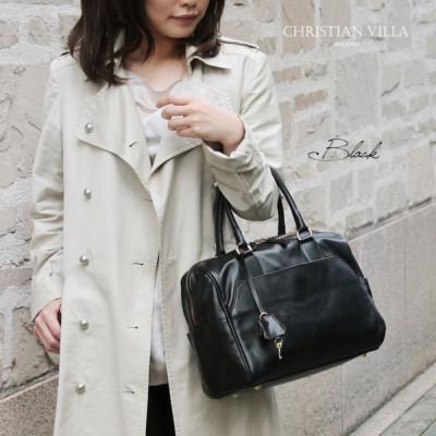 キャロン国発!イタリアバッグブランドPOPCORNの人気デザイナーが手掛けるCHRISTIAN VILLA(クリスチャンヴィラ)のレザーボストンバッグ